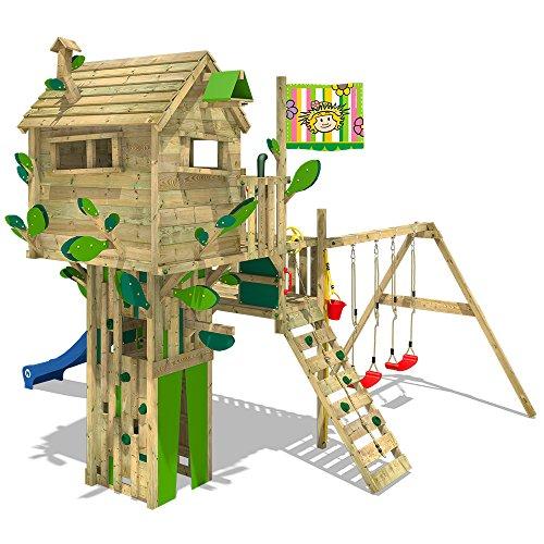 WICKEY Baumhaus Smart Treetop Kletterturm Spielturm mit Rutsche, Doppelschaukel und vielen...