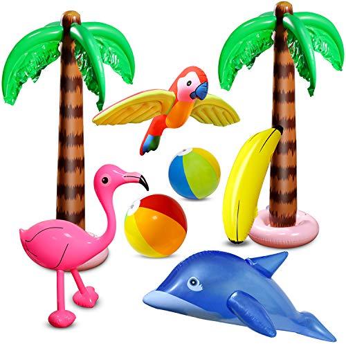 aovowog 8 Stücke Aufblasbare Palmen Flamingo Spielzeug Aufblasbare Bananenstrandbälle Fliegen Papagei...