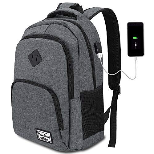 YAMTION Laptop Rucksack Herren Arbeit Rucksack Schulrucksack mit USB-Ladeanschluss für Business Wandern...