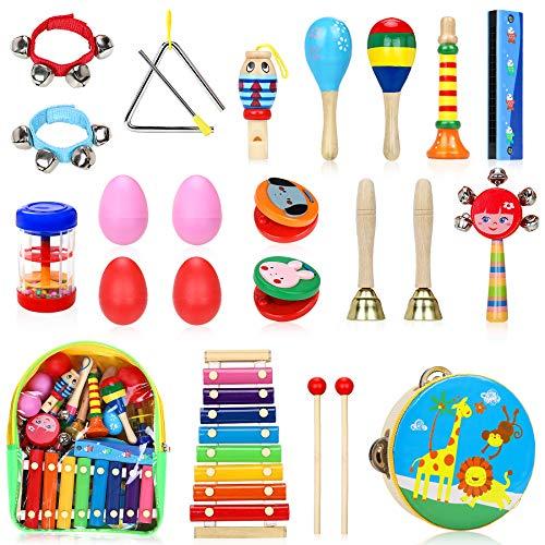 Jojoin Musikinstrumente Kinder Set, 24 Stück Holz Percussion Set für Kleinkinder und Baby, Musik...