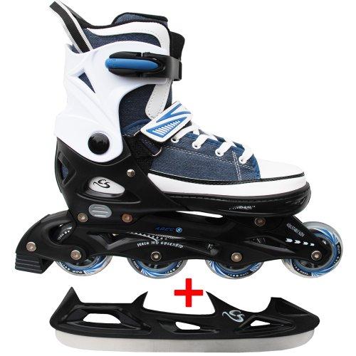 Cox Swain Sneak Kinder Inline Skates & Kinder Schlittschuh 2 in 1 - größenverstellbar ABEC5, Blau, S...