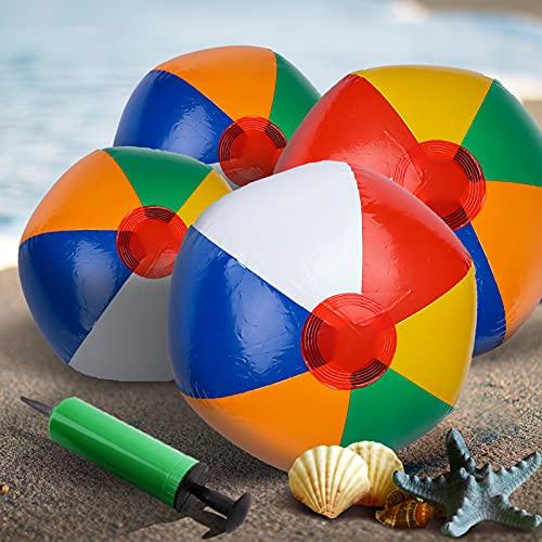 Gxhong Set aus 4 Wasserbälle mit 1 Pumpe, Beach Ball aufblasbar Strandbälle Beachball Pool Spielzeug...