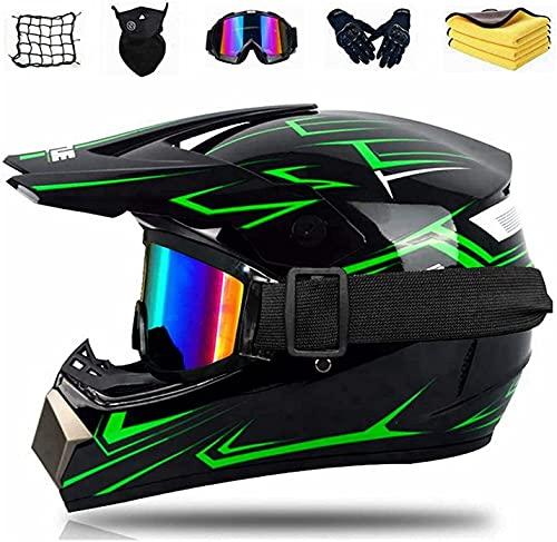 Motorrad Crosshelm Set mit Brille Handschuhe Maske Korallenvlies Handtuch Motorrad Netz, Schwarz Grün...