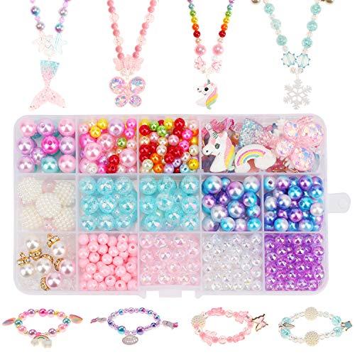 Hifot bastelset Kinder perlen schmuck basteln mädchen 400pcs+, DIY Einhorn Meerjungfrau Schmetterling...