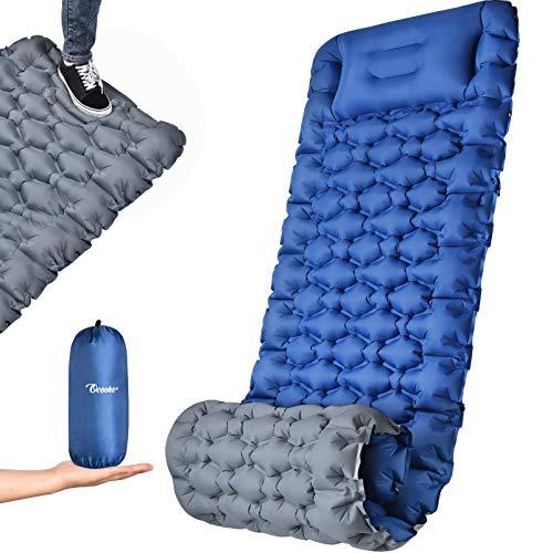 OCOOKO Isomatte Camping schlafmatte mit Fußpresse Pumpe - luftmatratze Camping isomatte aufblasbar...