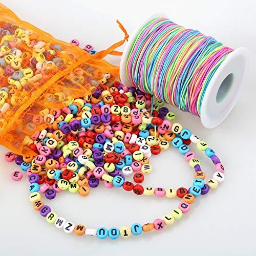ZesNice 1200 Stück Buchstabenperle, Bunt Rund Buchstaben Perlen zum Auffädeln mit 50 m Elastisch...