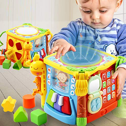 WISHTIME Musikalische Aktivität Cube Baby Spielzeug 5 in 1 Musik Trommel Bunte Spaß Haus elektronische...