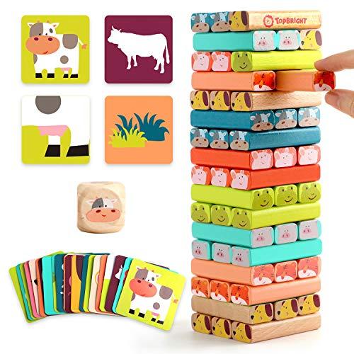 TOP BRIGHT Wackelturm Kinderspiel ab 3 Jahren, Stapelturm Holz Spielzeug Brettspiel, Holzspielzeug für 3...