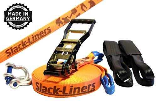 Slack-Liners 6 Teiliges Slackline-Set ORANGE - 50mm breit, 25m lang - mit Langhebelratsche Made in...