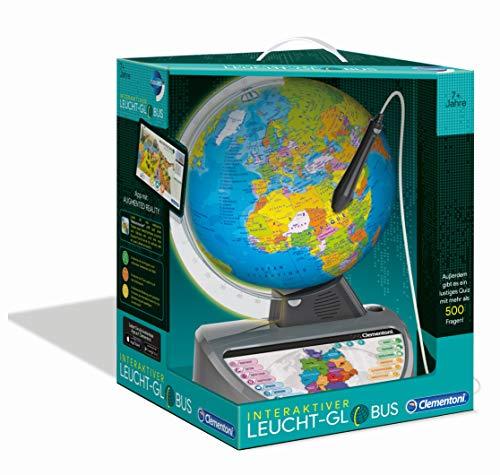 Clementoni 59183 Galileo Science – Interaktiver Leucht-Globus, sprechende Weltkugel mit Fragen &...