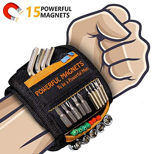 Bestes Männer Geschenke Magnetisches Armband - Magnetarmband Handwerker mit 15 Leistungsstarken...