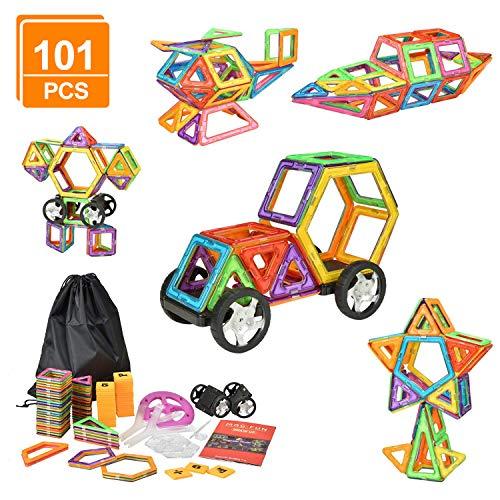 eLander Magnetische Bausteine Kinder 101tlg Magnetspielzeug, 3D Pädagogische Spielzeug, Geburtstag...