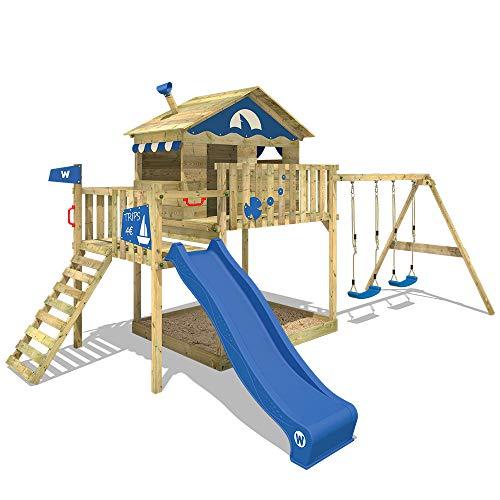 WICKEY Spielturm Smart Coast Kletterturm Spielhaus auf Podest mit Doppelschaukel und blauer Rutsche,...