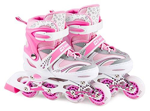 Hop-Sport 3in1 Inliner Inlineskates/Roller/Triskates für Kinder/Verstellbar/Farbe Weiß-Pink - M 34-38...