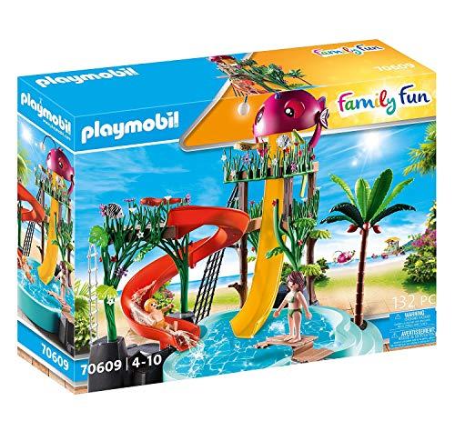 PLAYMOBIL Family Fun 70609 Aqua Park mit Rutschen, Zum Bespielen mit Wasser, Ab 4 Jahren