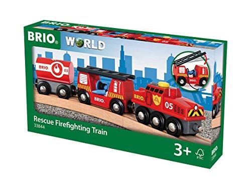 BRIO World 33844 Feuerwehr-Löschzug – Feuerwehrzug mit Feuerwehrschlauch und Wassertank –...