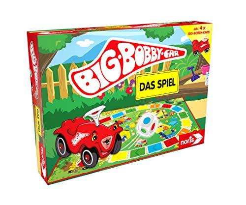 Noris BIG-BOBBY-CAR, Das Spiel - ein lustiges Würfel-Rennspiel für alle Fans - inkl. vier Mini Bobby...