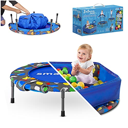 smarTrike Baby-Boys 9200000 3-in-1 Kinder Trampolin, Blau, 91.44 x 91.44 x 71.88 cm
