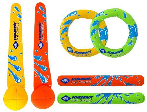 Schildkröt Neopren Diving Set, 6-teiliges Tauchset, je 2 Ringe, Stäbe, Bälle, Sandfüllung, weich,...