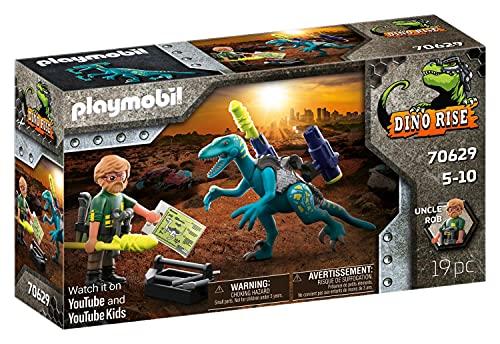 PLAYMOBIL Dino Rise 70629 Aufrüstung zum Kampf: Dinosaurier Deinonychus mit abnehmbarer Rüstung sowie...