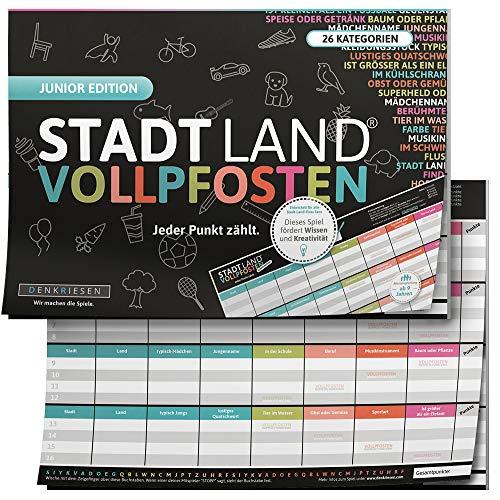 DENKRIESEN - Stadt Land VOLLPFOSTEN® - JUNIOR Edition - Für Kinder und Jugendliche   Spielblock...