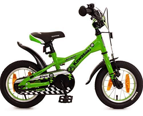 Fahrrad 12 Zoll Jungen Rücktritt Kinderfahrrad Jungenfahrrad Kawasaki Grün