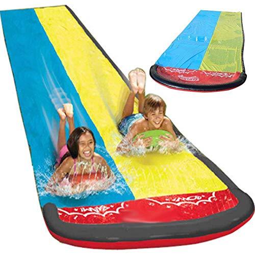 Dream-cool Wasserrutsche Rutschmatte, Riese Doppel-Wasserrutschbahn Rutsche Wassermatte Mit Sprinkler,...