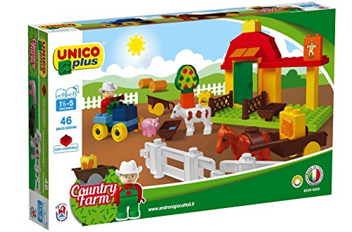 Unico Plus Bausteine Kleine Farm Bauernhof mit Traktor 46 TLG