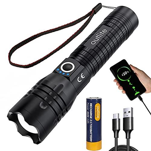 outlite Taschenlampe, Extrem Hell 10000 Lumen LED Taschenlampe Aufladbar USB mit wiederaufladbarem 21700...