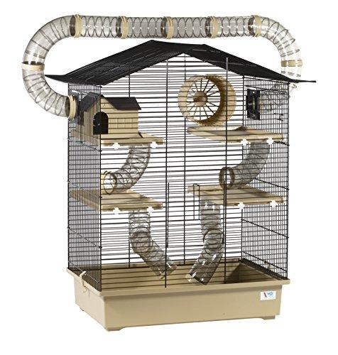 XXL Diamant Hamsterkäfig 5 Etagen 3 Leitern großes Röhrensystem Beige Außenröhren mehrere Türen...