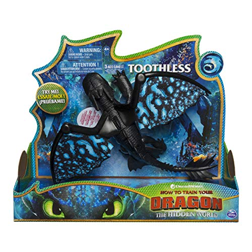 Dragons 6046847 - Movie Line - Deluxe Dragons - Ohnezahn (Solid), Actionfigur mit Licht - &...