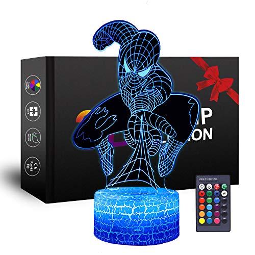 Superheld 3D Nachtlicht, Spiderman Spielzeug für Jungen, Kind Nachtlicht,Party Weihnachten Geburtstag...