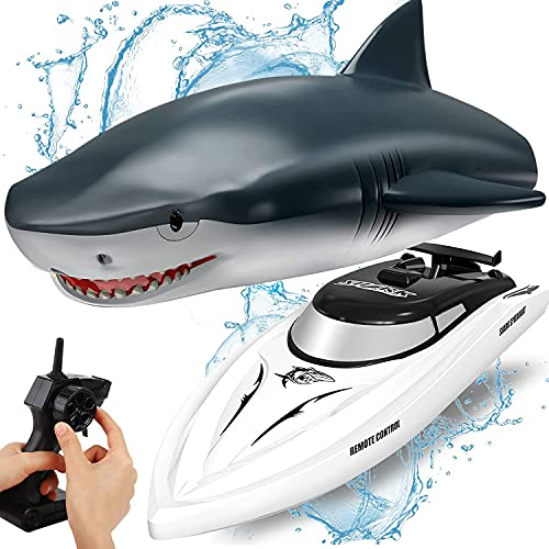 OBEST Ferngesteuertes Boot Hai, RC Shark Boot Spielzeug 2 in 1, 2.4GHz RC Elektro Boot, Kinder Electric...