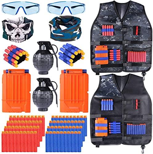 INNOCHEER Taktische Weste 2 Pack für Kinder, Taktische Jacke Kit mit 80 er Darts, 2 Brille, 2 schnell...