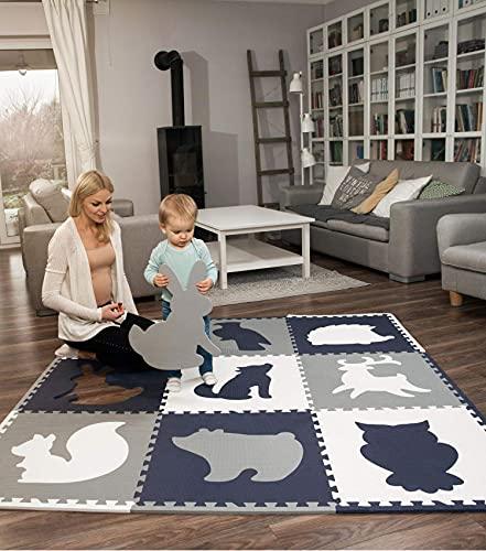 Hakuna Matte große Puzzlematte für Babys 1,8x1,8m – 9 XXL Platten 60 x 60cm mit Tieren – 20%...
