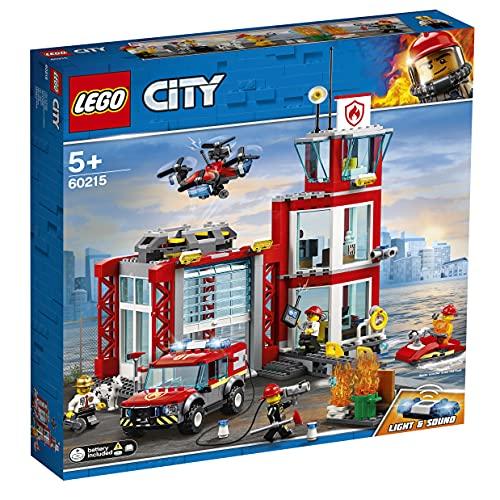 LEGO 60215 City Feuerwehr-Station, Bauset mit Lastwagen, Wasserscooter, Drohne und 3...