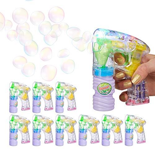 Relaxdays 10 x Seifenblasenpistole LED, mit Seifenblasenlösung, inkl. Batterien, handlich, für Party,...
