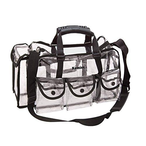 Kemier Durchsichtige Tasche Reise Make-up Tasche mit 6 Außentaschen Kosmetik Organizer mit Schultergurt...