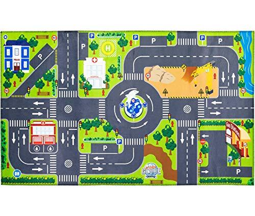 Kids Globe Spielteppich mit Straßen (leuchtende LED-Ampeln, Kinder-Teppich mit Anti-Rutsch-Boden,...