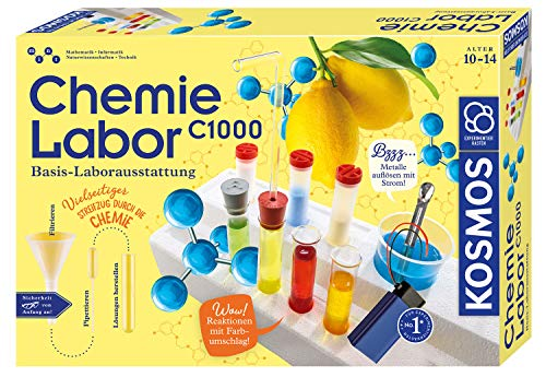 KOSMOS 642518 C1000 Chemielabor, BasisLaborausstattung, Chemie für Kinder ab 10 Jahre, Basislehrgang,...