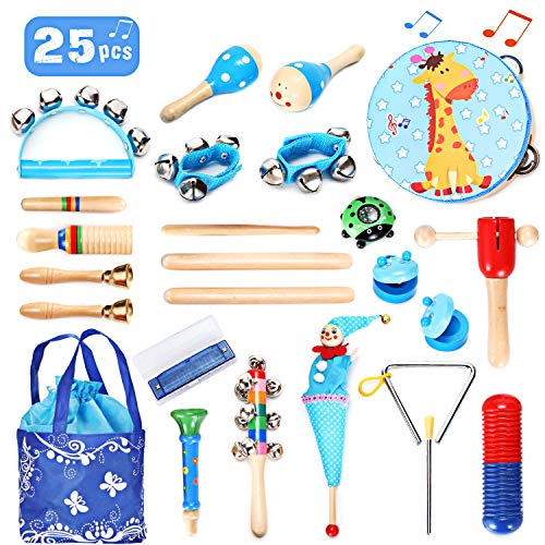 EPCHOO Musikinstrumente Kinder Set, 25 Stück Musical Instruments Set Holz Percussion Set Rhythm Toys...