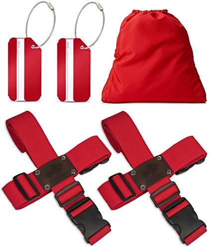Koffergurt Set 4 Stück - Gepäckgurt zum sicheren Verschließen der Koffers auf Reisen + GRATIS 2...