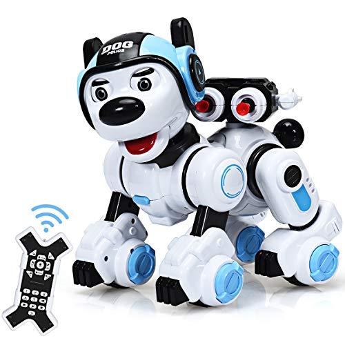 COSTWAY RC Interaktiv Roboter Hund mit Musik-, Tanz-, Blink- und Schießfunktion, Ferngesteuerter Hund...