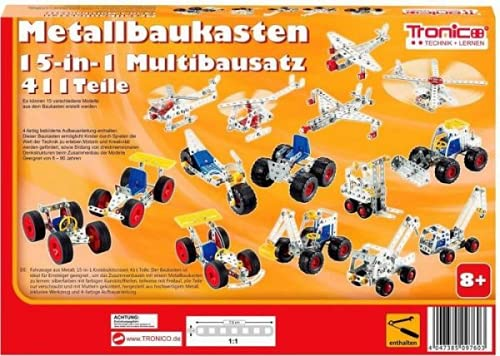 Tronico Metallbaukasten Bausatz 15-in-1 Modelle Baufahrzeuge 500 Teile Baustelle Flugzeug Fahrzeuge Auto...