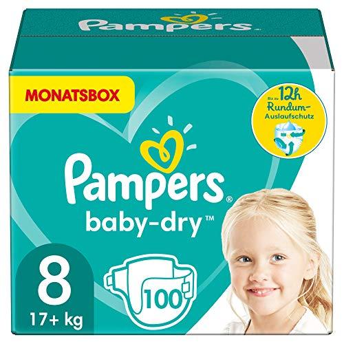 Pampers Windeln Größe 8 (17+kg) Baby Dry, 100 Stück, MONATSBOX, Bis Zu 12Stunden...