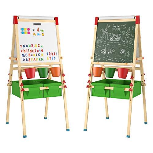 Kinder Staffelei Kindertafel mit Aufbewahrungsbox und Papier Rollen Halter Whiteboard Doppelseitige...