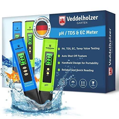 Veddelholzer pH Wert Messgerät pool Thermometer, pH TDS EC und Temperatur 4 in 1 Set, ph Tester(ATC)...
