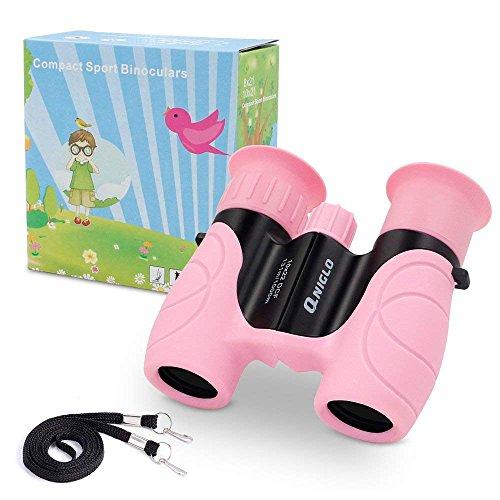 QNIGLO Mini Fernglas für Kinder, 10x22 Leichtes Fernglaser klein Kompakt Kinderfernglas Mit Tasche Gurt,...