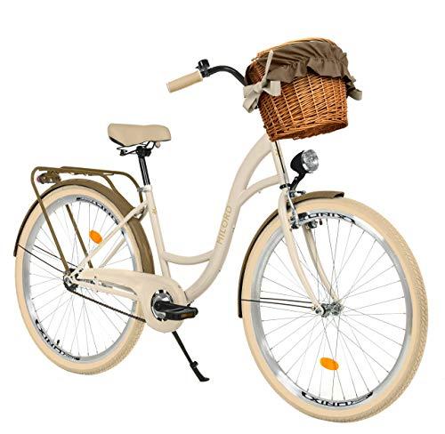 Milord. 26 Zoll 3-Gang Creme-braun Komfort Fahrrad mit Korb und Rückenträger, Hollandrad, Damenfahrrad,...