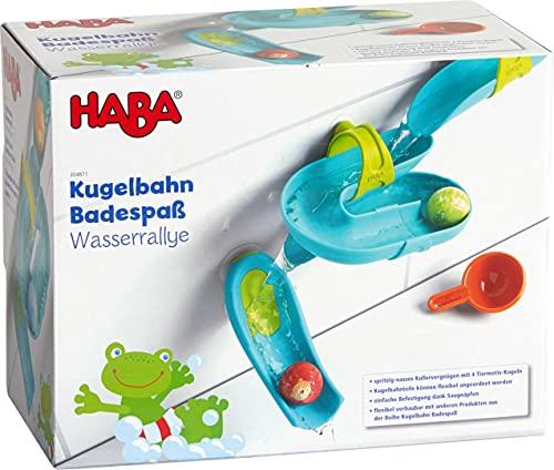 HABA 304871 - Kugelbahn Badespaß – Wasserrallye, Badespielzeug mit Kugelbahn und 4 Tiermotiv-Kugeln,...